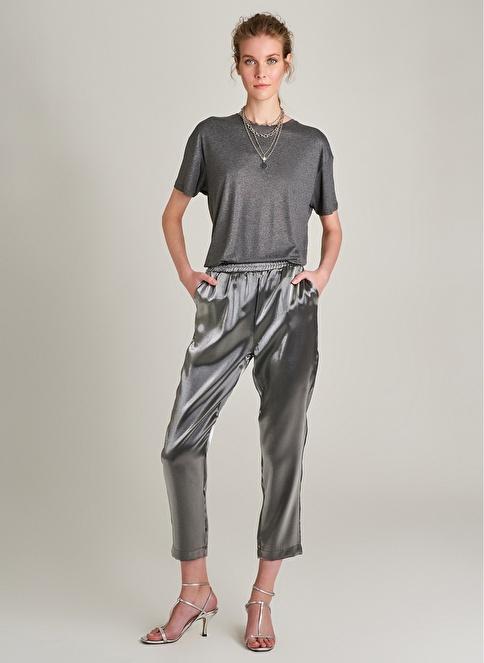 NGSTYLE Metalik Kumaşlı Beli Lastikli Pantolon Antrasit